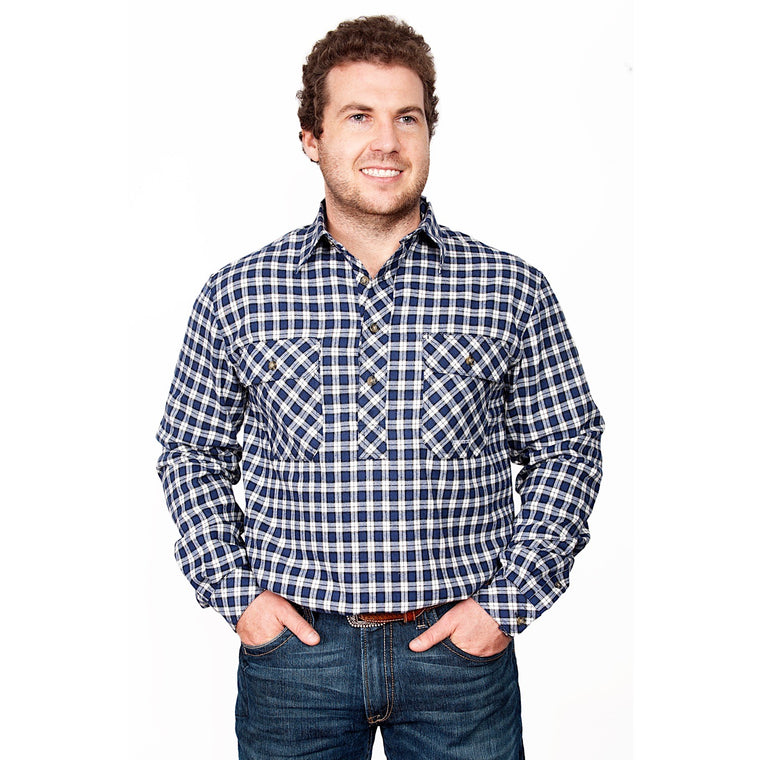 Just Country Mens Cameron Flannel Work Shirt Royal/White