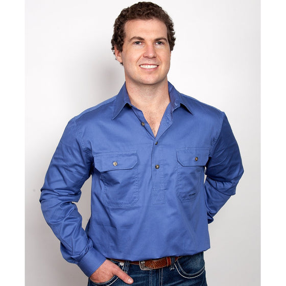 Just Country Mens Cameron 1/2 Button Work Shirt Blue