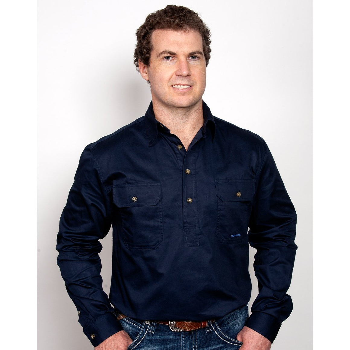 Just Country Mens Cameron 1/2 Button Work Shirt Navy