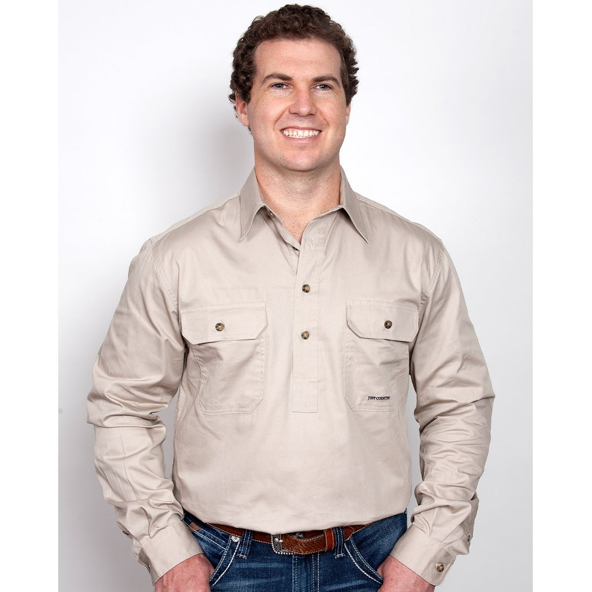Just Country Mens Cameron 1/2 Button Work Shirt Stone