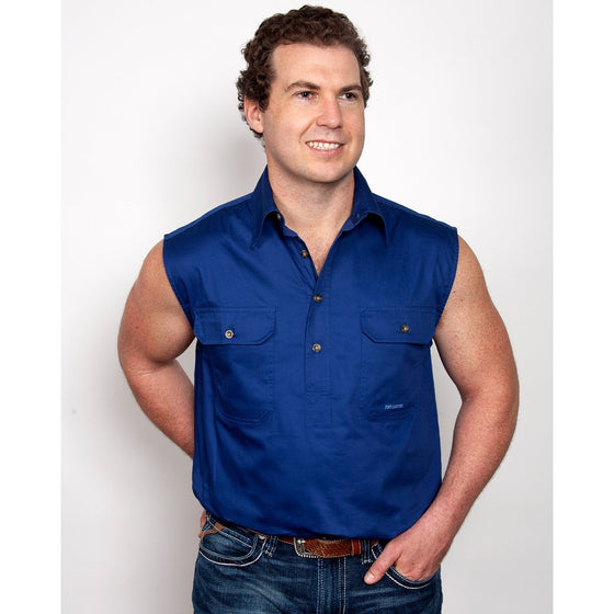 Just Country Mens Jack 1/2 Button Sleeveless Work Shirt Cobalt