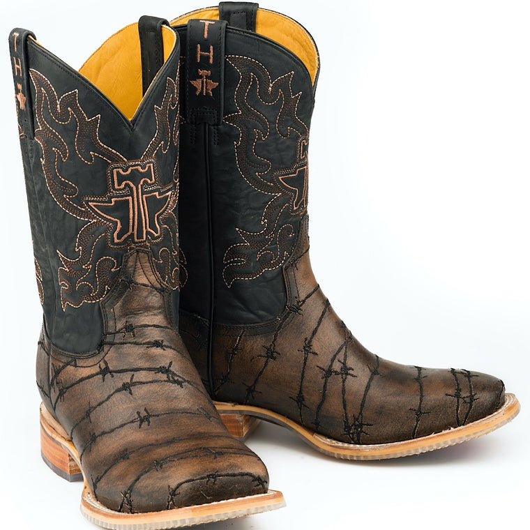 Tin Haul Mens Keep Out Western Boots with Longhorn Lights Sole