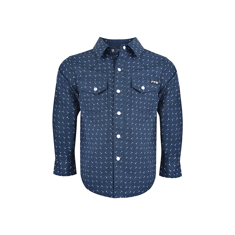 Pure Western Boys Anthony Print L/S Shirt Navy