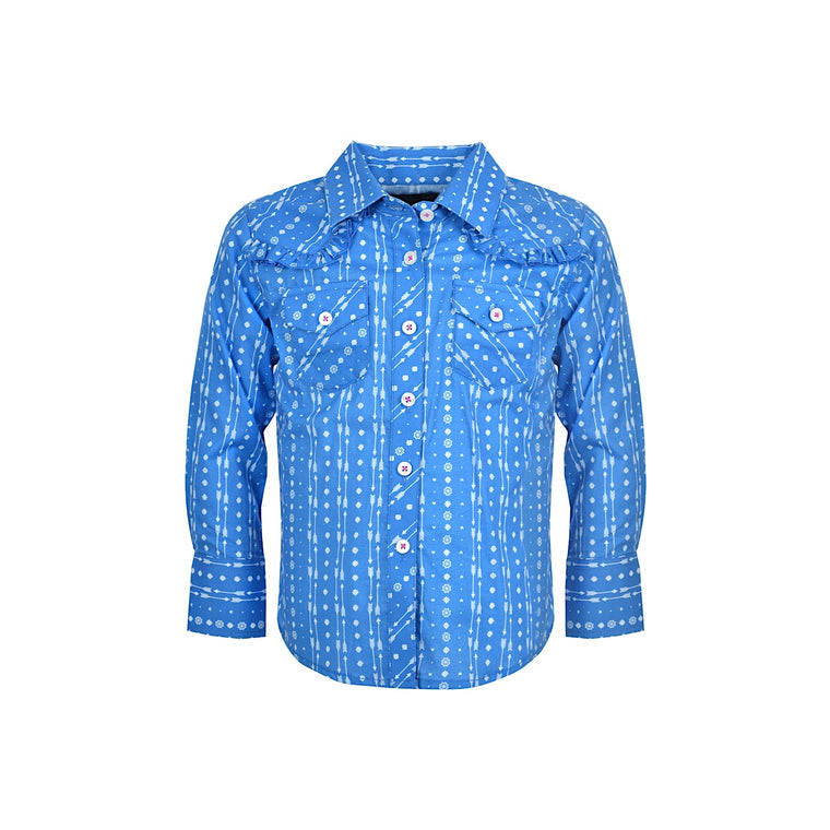 Pure Western Girls Cheyenne Print L/S Shirt Blue