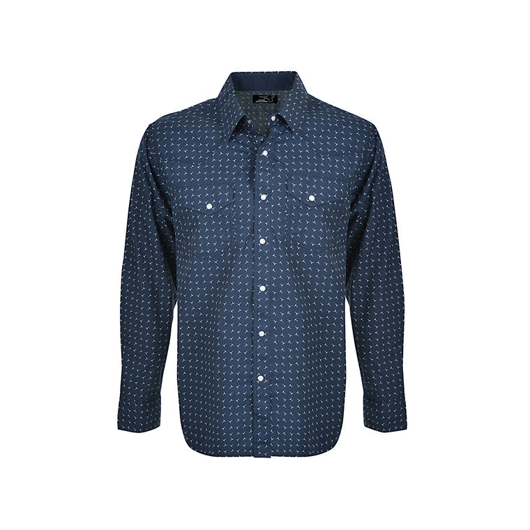Pure Western Mens Anthony Print L/S Shirt Navy