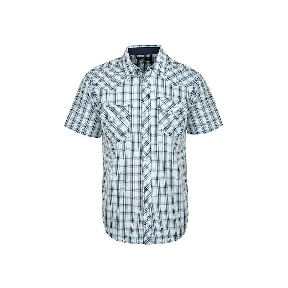 Pure Western Mens Brennan Check S/S Shirt Navy/White