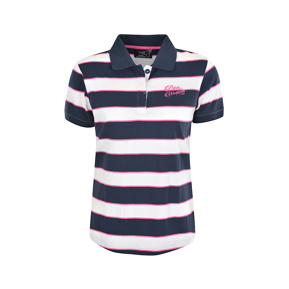 Pure Western Women's Zoey Polo Navy/White/Pink