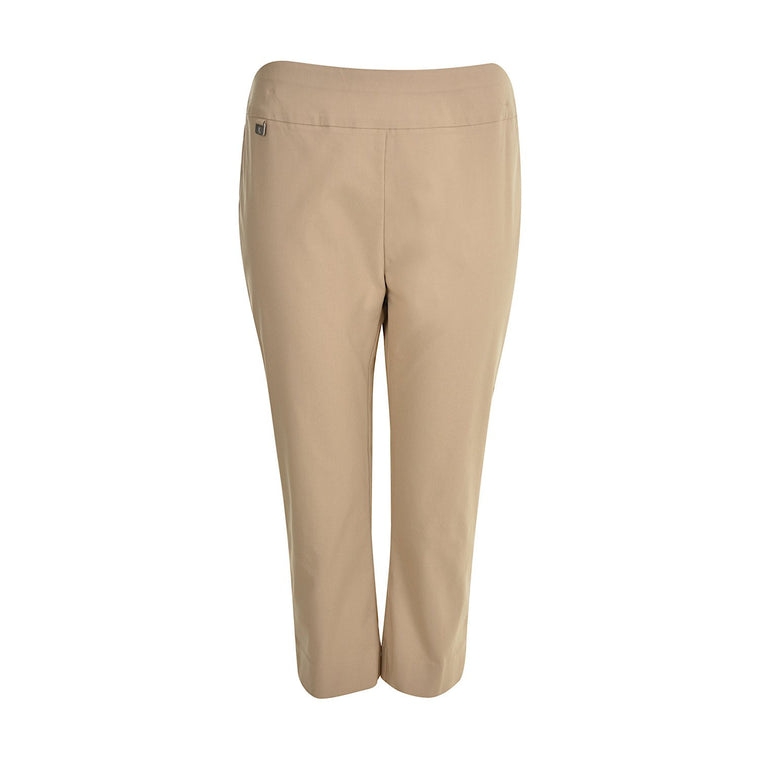 Thomas Cook Womens Townsville Tummy Control Pull-On Slim Capri Taupe