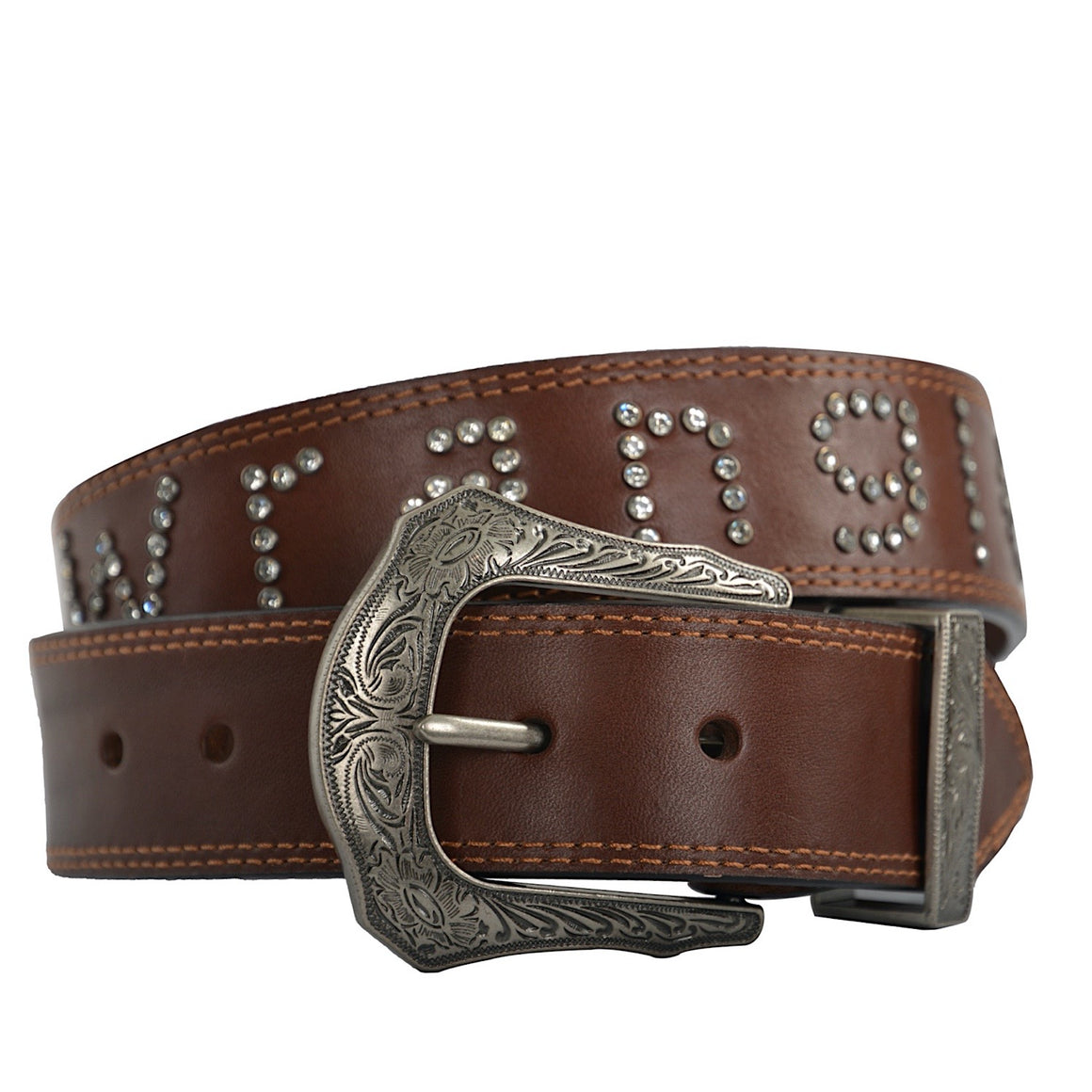 Wrangler Womens Diamante Belt Brown