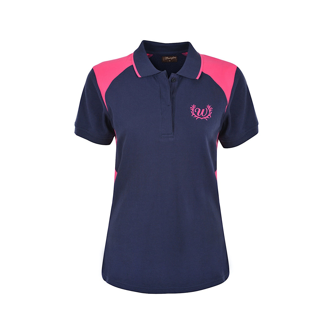 Wrangler Womens Kelly Spliced Polo Navy/Pink