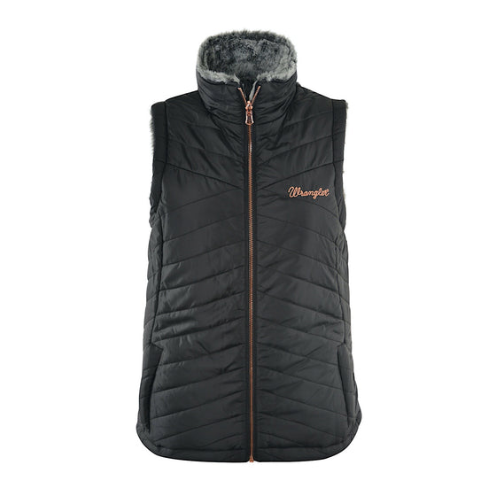 Wrangler Womans Melissa Reversible Vest Black/Grey