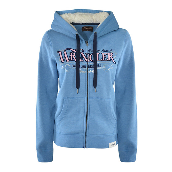 Wrangler Womens Tammy Zip Up Hoodie Blue Marle