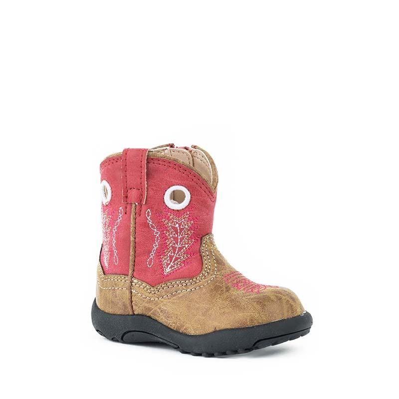 Roper INFANT Hole In The Wall Western Boots Tan/Red