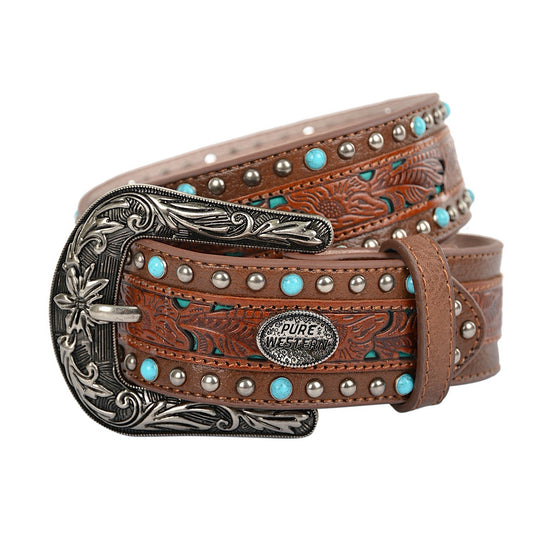 Pure Western Womens Meredith Belt Dark Tan
