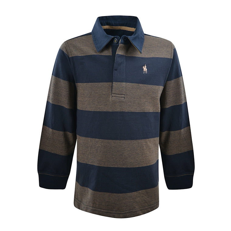 Thomas Cook Boys Dean Stripe Rugby Navy/Tan