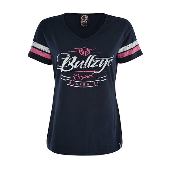 Bullzye Womens Captured V-Neck Tee Navy