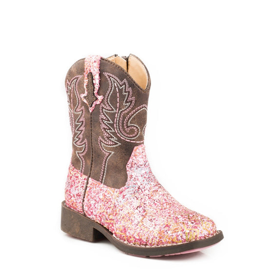 Roper TODDLER Aztec Pink Glitter/Brown Boots