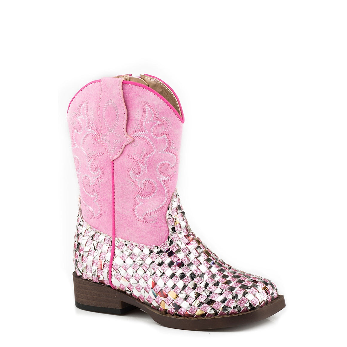 Roper TODDLER Girls Western Braid Boots Square Toe Pink