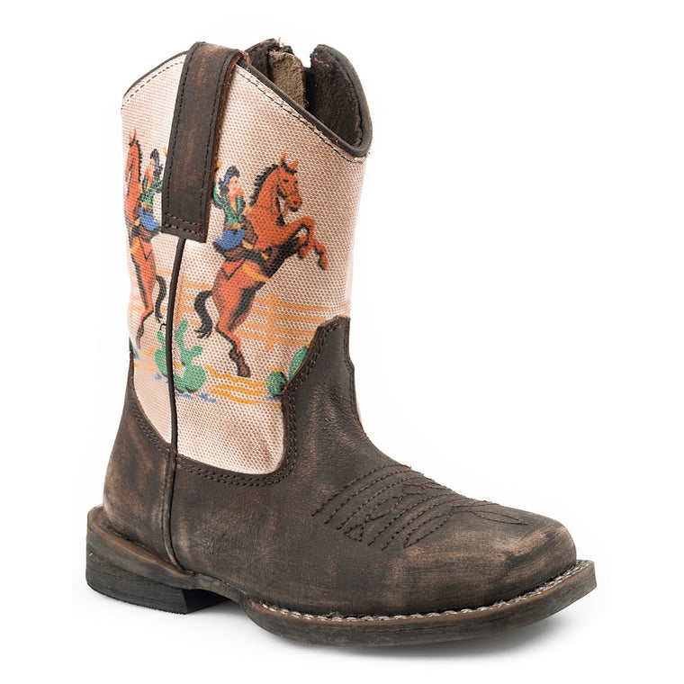 Roper TODDLER Vintage Rodeo Western Boots Brown