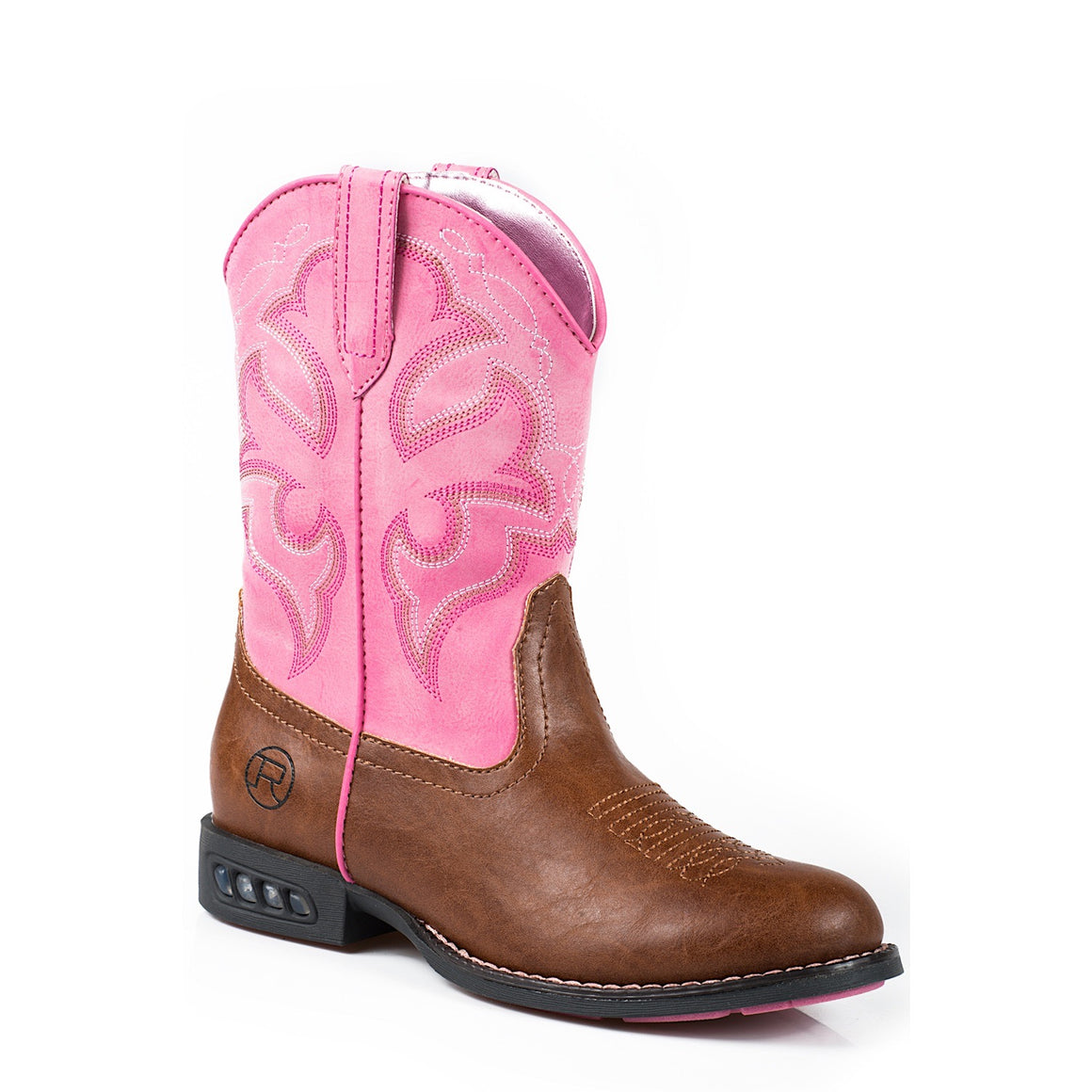 Roper Little Kids Lightning Western Boots Tan/Pink