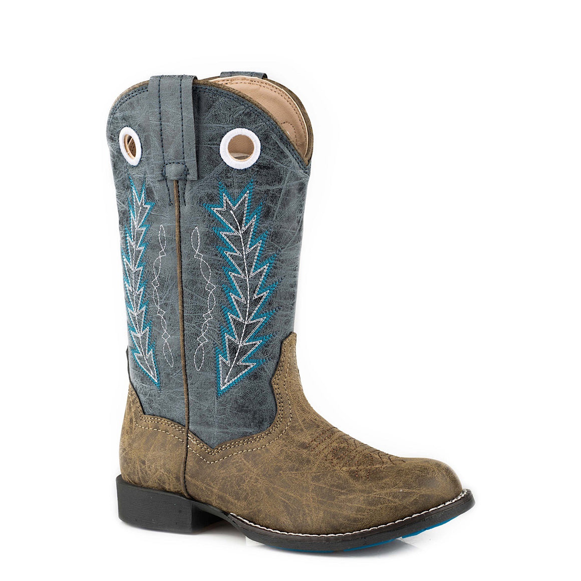 Roper Little Kids Hole in the Wall Western Boots Brown/Blue
