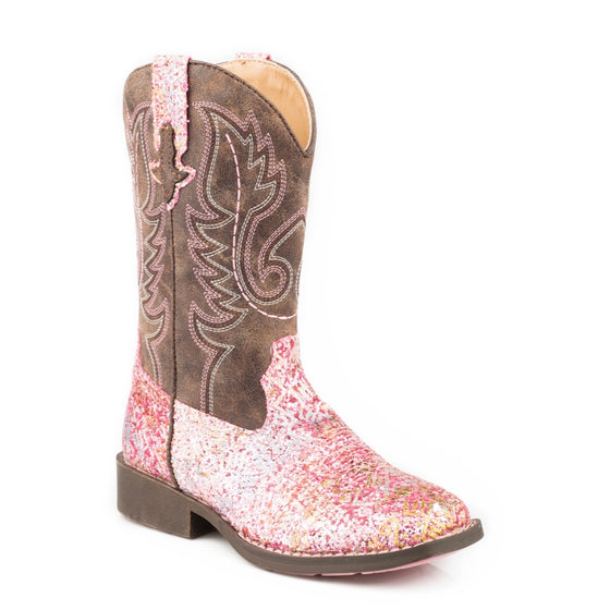 Roper Little Kids Aztec Pink Glitter/Brown Boots