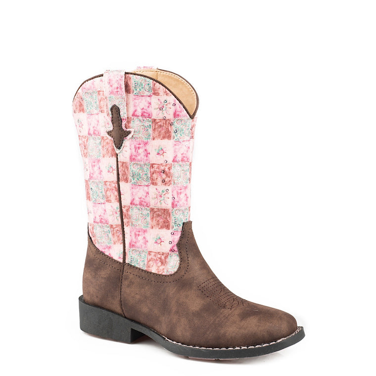 Roper Little Kids Floral Shine Brown/Pink Boots
