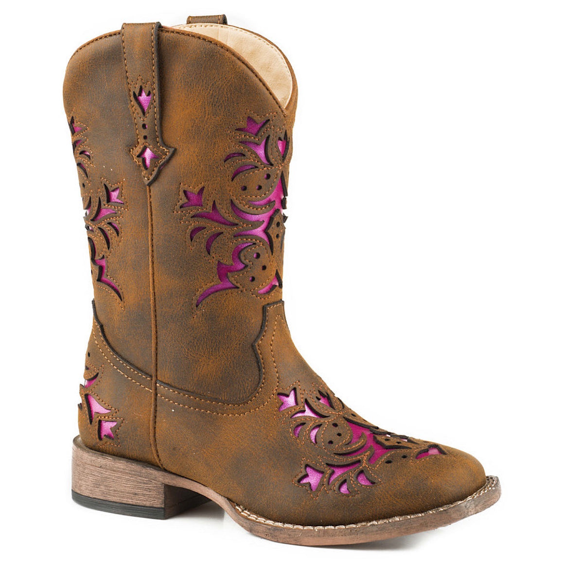Roper Little Kids Lola Brown Pink Metallic Underlay Boots