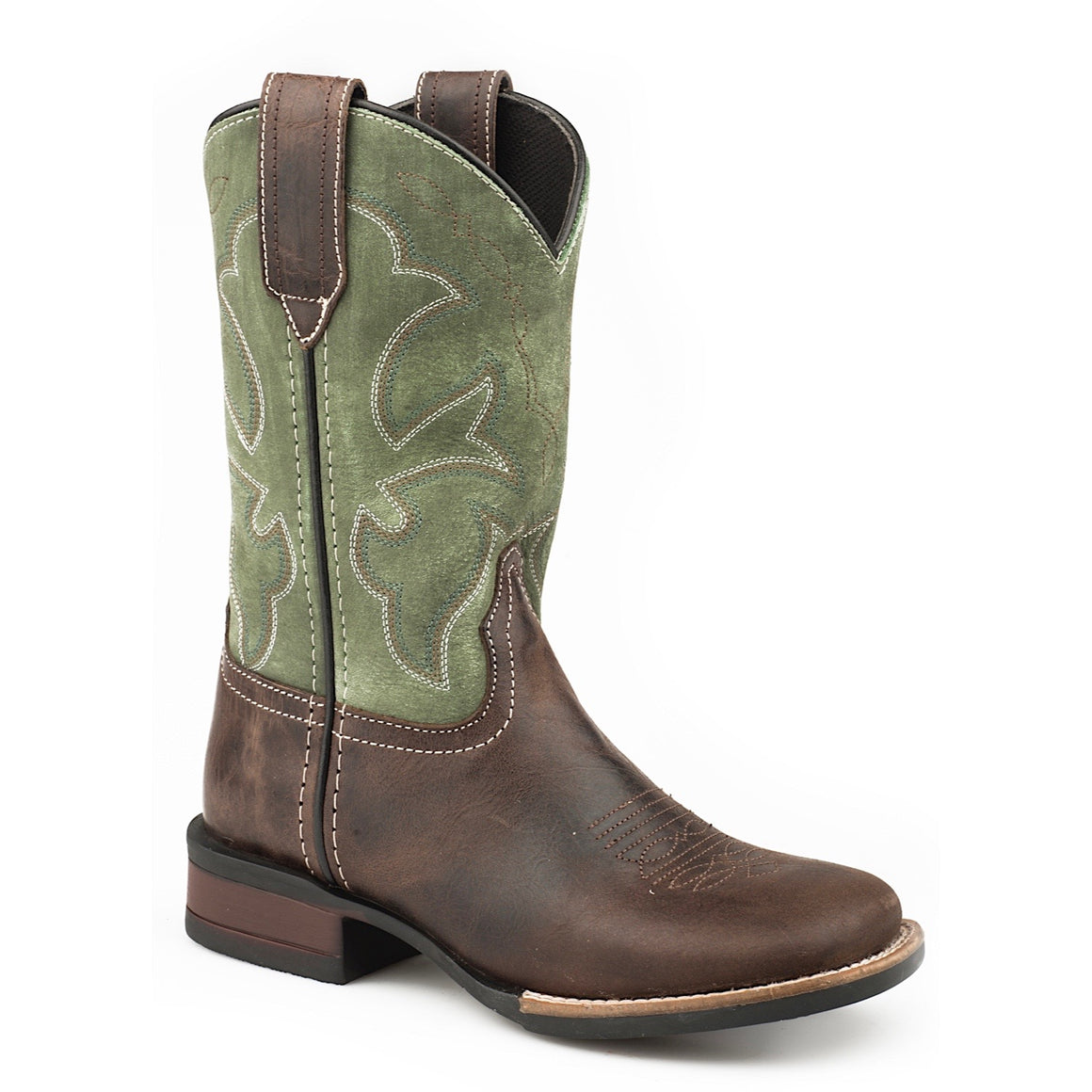 Roper Little Kids Monterey Leather Western Boots Chocolate/ Green