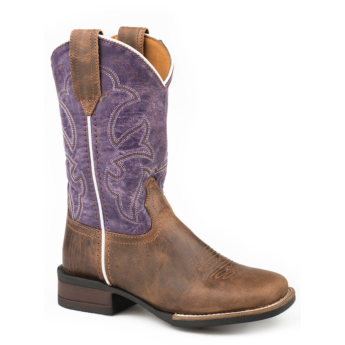 Roper Little Kids Monterey Leather Western Boots Brown/Purple