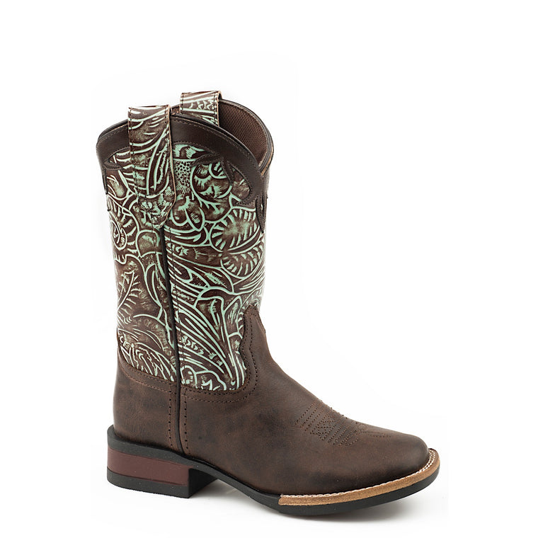 Roper Little Kids Monterey Leather Western Boots Chocolate/ Turquoise