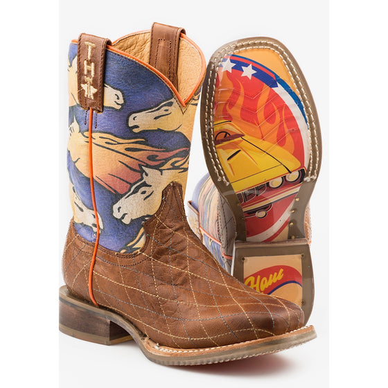 Tin Haul Kids Flaming Horses Western Boots With Muscle Car Sole