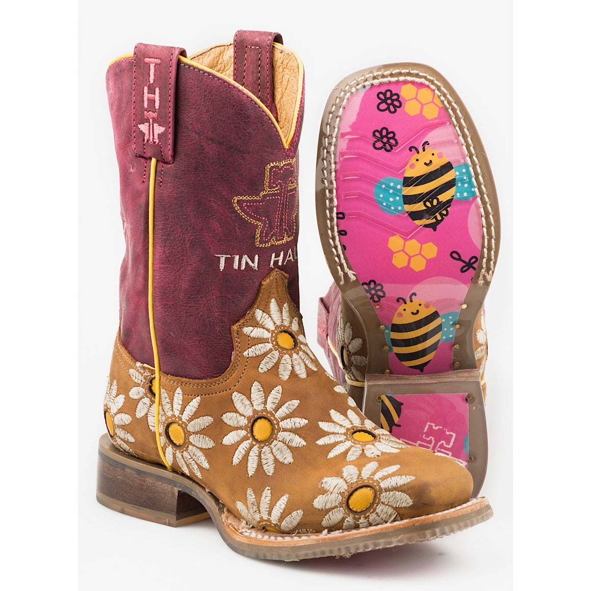 Tin Haul Kids Lil Blossom Western Boots With Bumblebees Sole