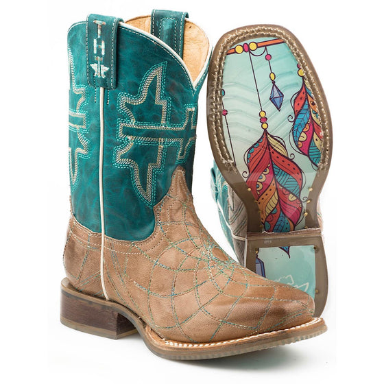 Tin Haul Kids Dream Catcher Western Boots With Crystal Feather Sole