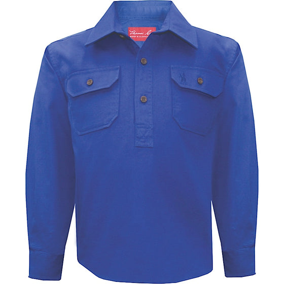 Thomas Cook Kids Heavy Cotton Drill 1/2 Plkt Shirt Cobalt