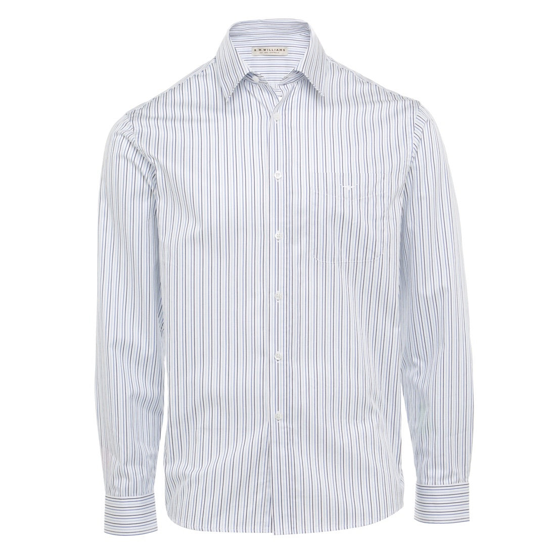 R.M.Williams Collins Shirt White/Navy/Blue