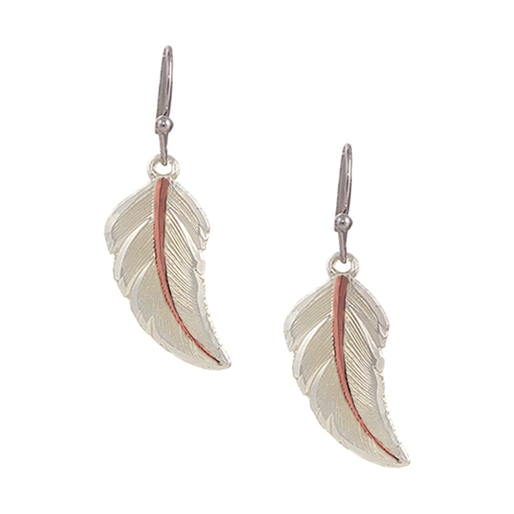 Two Tone Copper No Dream Is Too Small Feather Earrings
