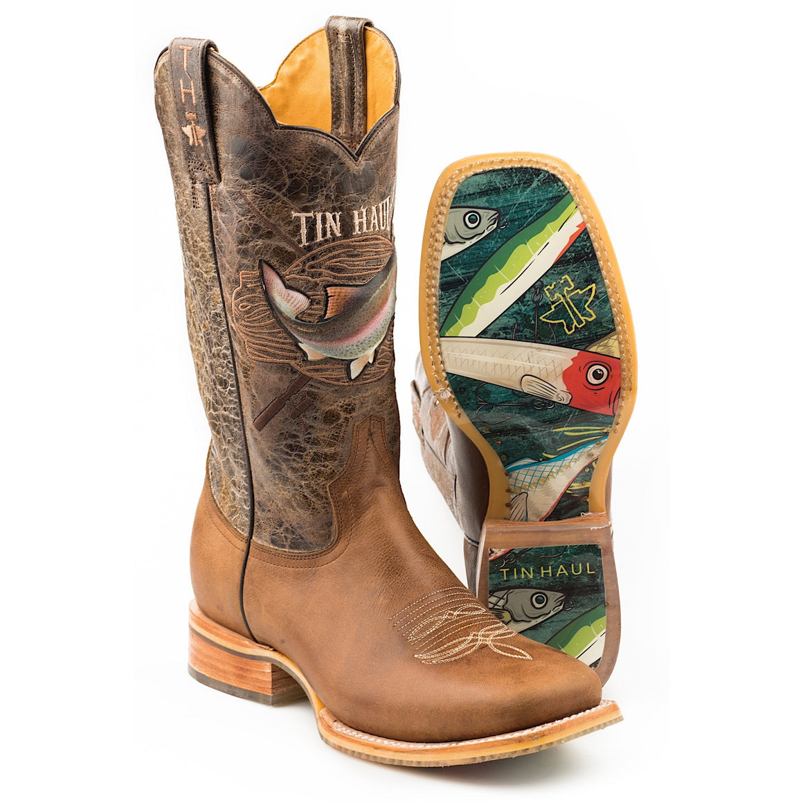 Tin Haul Mens Alpha Angler Western Boots with Fishing Lure Sole