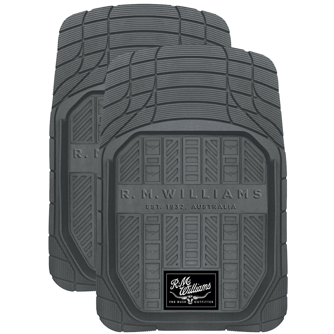 R.M.Williams Heavy Duty Dish Front Floor Mats Grey