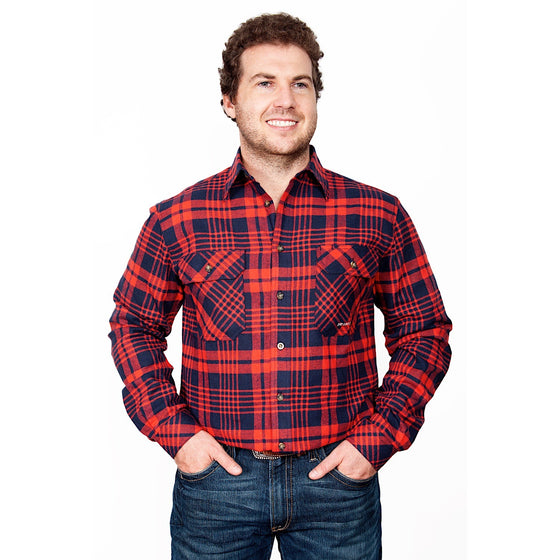 Just Country Mens Evan Flannel Work Shirt Navy/Red