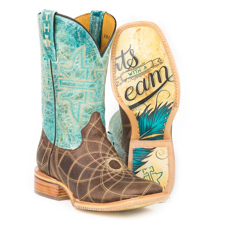 Tin Haul Womens Dreamcatcher Western Boots-Start with a dream sole