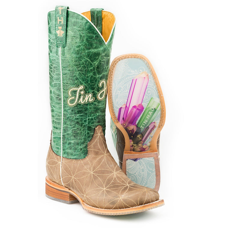 Tin Haul Womens Flower of Life Western Boots With Crystal Sole