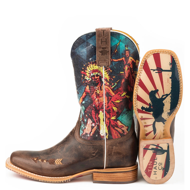 Tin Haul Womens Wild West Western Boots With Cowboy and Indian Sole