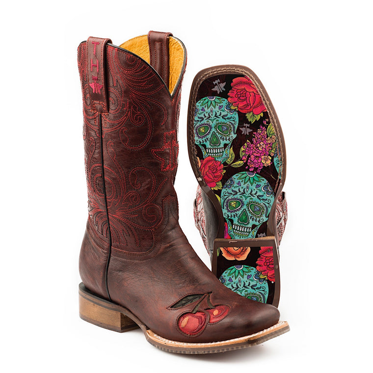 Tin Haul Womens Mon Cherry Western Boots With Skull And Roses Sole