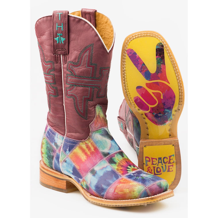 Tin Haul Womens Trippy Check Western Boots With Peace And Love Sole