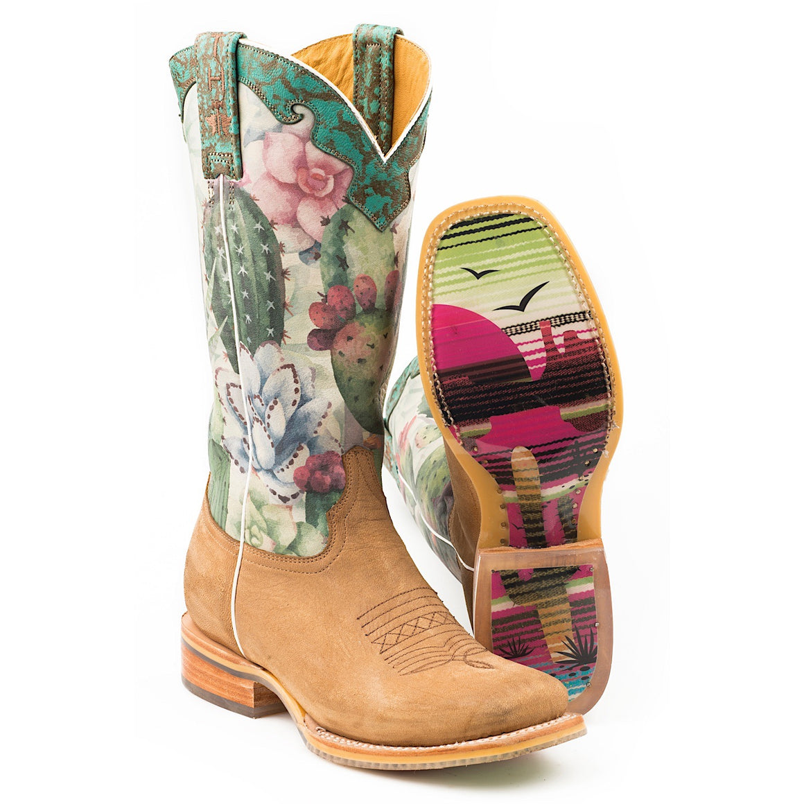 Tin Haul Womens On Point Western Boots With Serape Sunset Sole