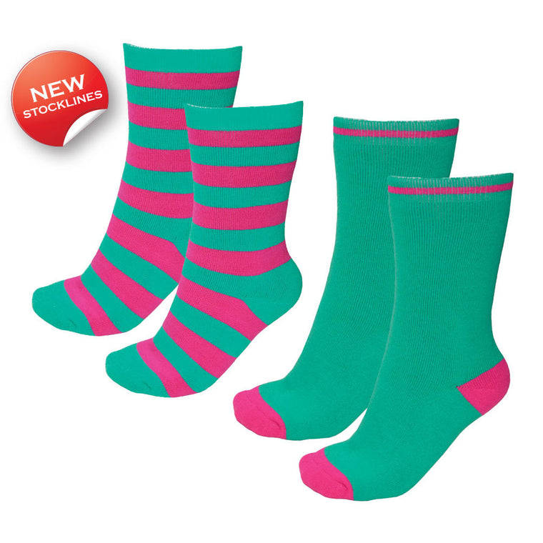 Thomas Cook Thermal Socks - Twin Pack Peppermint/Bright Pink