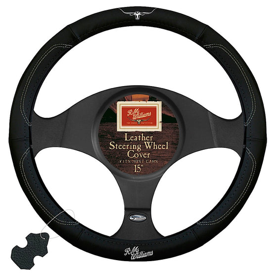"R.M.Williams Steering Wheel Cover 15"" Black White"