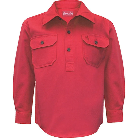 Thomas Cook Kids Heavy Cotton Drill 1/2 Plkt Shirt Tomato