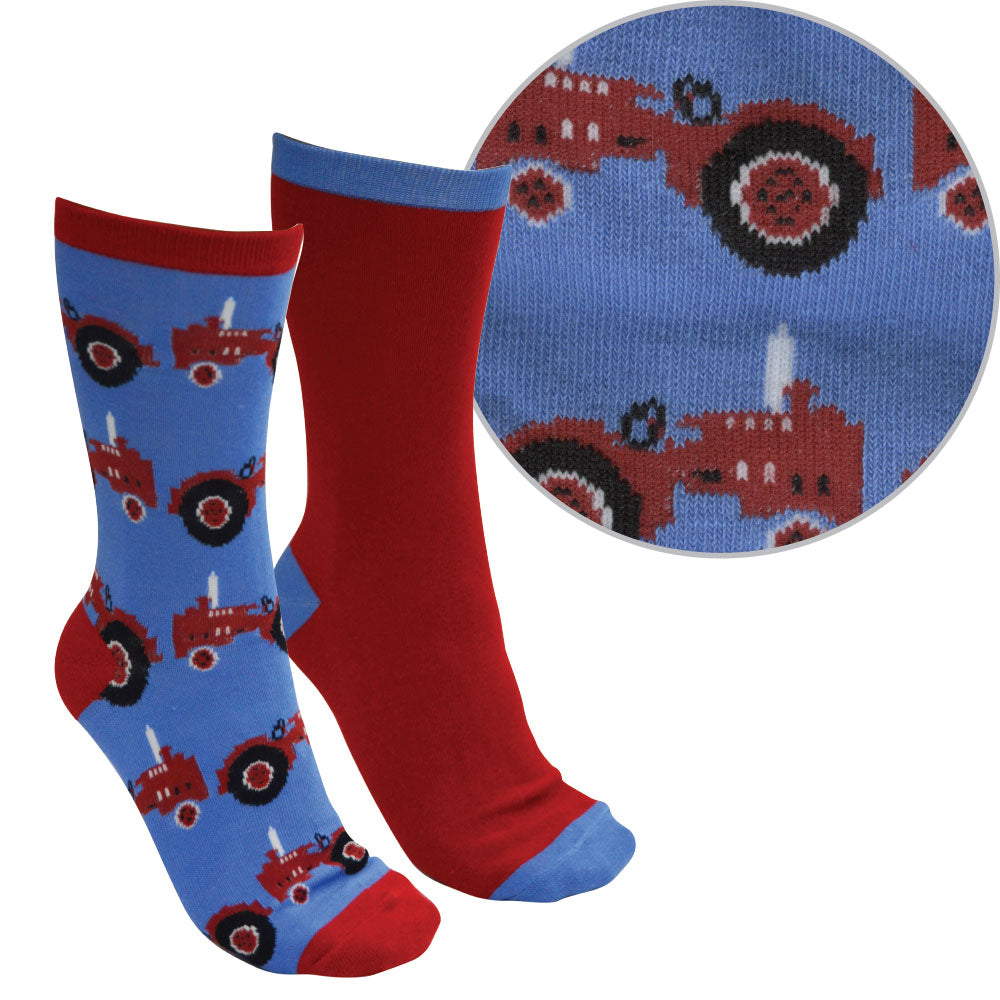 Thomas Cook Kids Farmyard Socks Twin Pack Blue/Red ( Tractor )